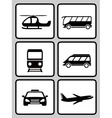set icons with transport black silhouette vector image