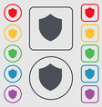 Shield Protection icon sign symbol on the Round vector image