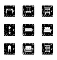 Furniture icons set grunge style vector image