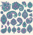 big set of colorful henna floral elements vector image