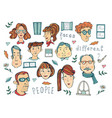 hand drawn people faces collection vector image vector image