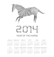 Calendar for the year 2014 Origami horse vector image vector image