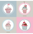 decorative hand drawn sweet cupcakes vector image