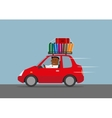 Happy businessman goes on vacation by car vector image vector image