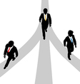 Business men walk diverge on 3 paths vector image