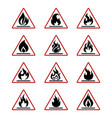 danger fire icons with flame isolated on white vector image