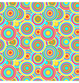 Red yellow and blue circles seamless pattern vector image