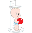 small child measuring his height vector image