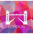 The Tower bridge label or logo over geometric vector image