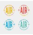 Airplane flight badges in flat style vector image vector image