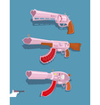 Set love guns Automatic Blaster Magnum vector image