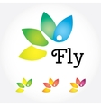 Fly Yoga sign lotus flower in different colors vector image