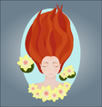 Sleeping young girl water and lily vector image