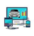 Auto Diagnostics Monitor Flat Concept vector image