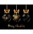 Black Christmas decoration ball with golden ribbon vector image
