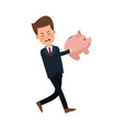businessman sad character holding piggy banking vector image