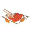 cooking sausage on bbq icon cartoon style vector image