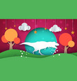 dinosaur cartoon paper landscape vector image