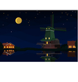 Dutch landscape at night vector image
