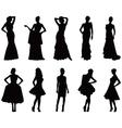Elegant silhouettes of women vector image