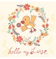 Hello my love card with bird vector image