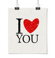 i love you vintage text design poster paper clips vector image