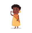 little girl wearing national costume of africa vector image