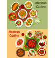 mexican cuisine dishes dinner set vector image