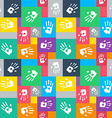 Seamless background with squares and hands vector image
