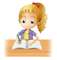 A long-haired girl writing vector image vector image