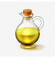 Realistic glass bottle of of olive or sunflower vector image
