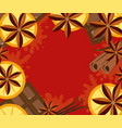 red background with orange cinnamon and chocolate vector image