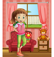 A cute young girl inside the house vector image