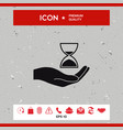 hand holding hourglass vector image