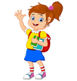Cartoon girl bring books vector image