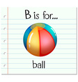 Flashcard letter B is for ball vector image