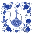 Oriental patterned jugs blue vector image