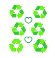 recycled eco icon set recycle arrows ecology vector image