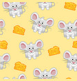 seamless pattern cute cartoon square grey mouse vector image