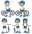 Boys and girls riding bicycle vector image vector image