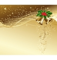 Christmas card with gold bells and holly vector image