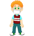 cute Boy cartoon wearing breath mask for protect a vector image