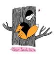 Cute cartoon fox and bird on the tree vector image