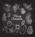 holly christmas vintage doodle chalkboard vector image
