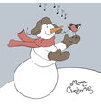 snowman and bullfinch vector image
