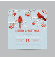 Christmas Invitation Card - Winter Birds vector image