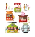 set of amusement park design elements in vector image