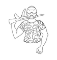 Paintball player icon in outline style isolated on vector image