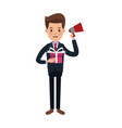 businessman character holding speaker and gift box vector image