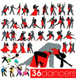 36 dancers silhouettes set vector image